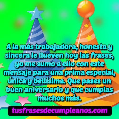 Feliz cumpleaños prima frases